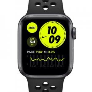 Apple Watch Nike SE (GPS + Cellular) with Nike Sport Band 40mm Space Gray Aluminum Case.