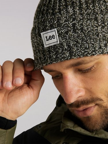 Men's Lee European Collection Logo Beanie in Olive Green