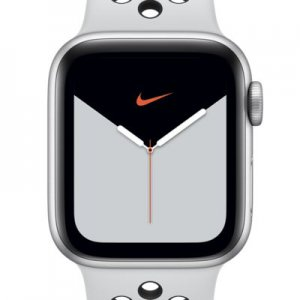 Apple Watch Nike Series 5 (GPS + Cellular) with Nike Sport Band 44mm Silver Aluminum Case.