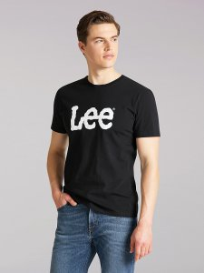 Men's Lee European Collection Wobbly Logo Tee in Black