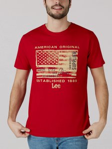 Men's American Original Flag Graphic Tee in Tango Red