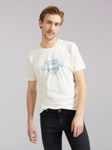 Men's Lee European Collection Chest Logo Tee in White Canvas