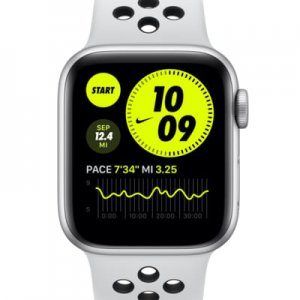 Apple Watch Nike SE (GPS) with Nike Sport Band 40mm Silver Aluminum Case.
